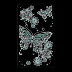 蒔絵シール 「MEHENDI (ヘナ タトゥーステッカー) 蝶と花 シルバー」 ステッカー iPhone デコレーション