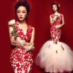マーメイドドレス カラードレス 安い カクテルドレス 演奏会 ロングドレス 結婚式 イブニングドレス 二次会 フォーマル 発表会 花嫁 ウエディングドレス 赤