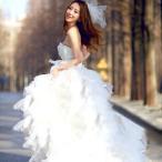 Yahoo!トヨワストアウェディングドレス 安い トレーンドレス 前ミニ ウエディングドレス 二次会 エンパイア 花嫁 パーティードレス 演奏会 ブライダル 結婚式 ロングドレス wedding
