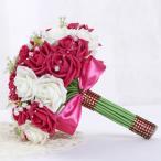 ウエディングブーケ 安い ブートニア 結婚式 ブーケ 造花 ローズ ウェディング用 ブライダルブーケ 花嫁 手作り キット