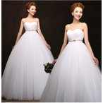 Yahoo!トヨワストアウエディングドレス エンパイア 安い 二次会 ウェディングドレス 結婚式 マタニティドレス 披露宴 花嫁 ブライダル ロングドレス 白 シンプル サッシュベルト