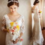ウェディングドレス マーメイドライン ウエディングドレス 安い 花嫁 ロングドレス 披露宴 マーメイドドレス 二次会 結婚式 レトロドレス 長袖 wedding dress