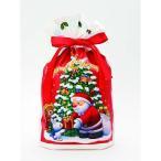 【クリスマス】リボン ギフトバッグ サンタ レッド S