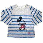 ディズニー ミッキー ボーダー 長袖Tシャツ(ブルー×90cm)
