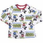 ディズニー ミッキー 総柄 長袖Tシャツ(ホワイト×90cm)
