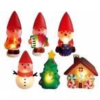 クリスマス LEDイルミネーション サンタの森 ガラスモチーフ サンタアソートB 6体セット 電池式 【オーナメント/飾り】