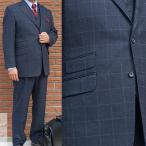 秋冬 メンズ スーツ 3つボタン スリーピース ネイビー ウインドペンチェック 紺 TheoDore 0288