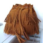 ショッピングフリンジ フリンジ バッグ【ブラウン】 スエード 調 巾着 ショルダー バッグ ふさふさたっぷりフリンジ&タッセル レディース