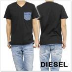 DIESEL ディーゼル メンズVネックTシャツ T-BASCILA / 00SSVK 0WAID ブラック /2017春夏新作