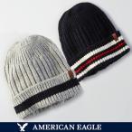 メール便 送料無料 アメリカンイーグル メンズ ニットキャップ ニット帽 帽子 ビーニー ネイビー グレー