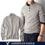 アメリカンイーグル メンズ セーター ニット コットン 長袖 モック ヘンリー ネック 無地 ワンポイント XS S M サイズ オートミールグレー