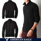アメリカンイーグル メンズ セーター ニット コットン 長袖 モック ヘンリー ネック 無地 ワンポイント S M L サイズ ブラック