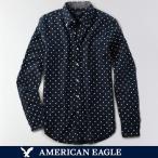 メール便 送料無料 アメリカンイーグル/メンズ/長袖/ボタンシャツ/ネイビー 白 プリントオックスフォード シャツ
