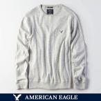 アメリカンイーグル メンズ セーター ニット コットン 長袖  クルーネックセーター 無地 S M L サイズ グレー