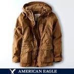 アメリカンイーグル/メンズ/ユーティリティジャケット アウター/ブラック/ワックスコットンパーカ/XS S Mサイズ