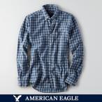 メール便 送料無料 アメリカンイーグル/メンズ/長袖/ボタンダウンシャツ/インディゴチェックシャツ スリムフィット シャツ  ブルー
