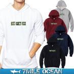 7MILE OCEAN/メンズ/プルオーバー パーカー/スウェット/スウエット/スエット/裏起毛なし/パイル地/プリント/迷彩 ボックス ロゴ