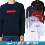 7MILE OCEAN/メンズ/スウェット/スウエット/トレーナー/スエット/無地/裏起毛なし/パイル地/ボックスロゴ/プリント/ロゴ
