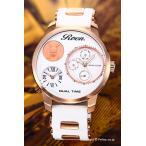 ロエン×エンジェルクローバー 腕時計 メンズ Special Collaboration 限定モデル ホワイト×ピンクゴールド RO48PG-WH