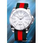 ショッピングgucci ストラップ グッチ 腕時計 メンズ GUCCI ダイヴ ホワイト/GRGナイロンストラップ YA136207