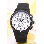 スウォッチ 腕時計 SUSB401 クロノ プラスチック トゥワイス アゲイン ブラック ホワイト×ブラック