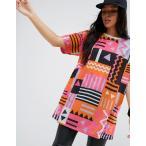 エイソス Tシャツ レディース  トップス 大きいサイズ  ASOS Super Oversized T-Shirt in 80s Aztec Print