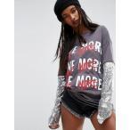 エイソス Tシャツ レディース  トップス 大きいサイズ   ASOS Top with Double Layer Sequin Sleeve and Love Print
