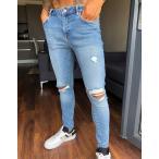 エイソス スーパースキニー ジーンズ メンズ デニム ダークブルー  ASOS Extreme Super Skinny Jeans In Dark Blue おしゃれ バイカー