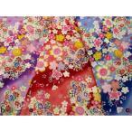 綿生地/和柄布地/流水文に金箔入り桜柄 3色 198P2