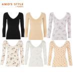 Yahoo!トリンプ&アモスタイル ヤフー店セール49%OFF(アモスタイル)AMO'S STYLE 秘めインナーFit 7分袖トップ(深めVネック) AMSTG1366 Top(7)1