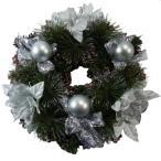 ショッピングクリスマスリース クリスマスリース シルバー リボン 松ぼっくり