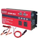 カーインバーター 2000W シガーソケット 車載充電器 ACコンセント2つ USBポート4つ DC12をAC100Vに変換 知能ディスプレイ付き  2000W