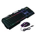 PlumRiver ゲーミングキーボード マウス セット 3色LEDバックライト付き 金属製 eスポーツ PS4 プレステ4 USB 有線 ゲームキーボード 標準英語配列 Black ブラック