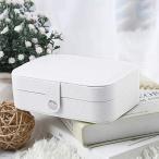 ジュエリーボックス アクセサリー収納 アクセサリーケース ジュエリーケース ミニ 宝石箱 トラベル ピアス ネックレス 指輪 (白 Large)