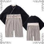 ショッピングロンパース 紋付袴風ベビーロンパース(カバーオール)/黒/サイズ70/80/90