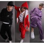 スウェットロングパンツ&パーカー上下 紫パープルセットアップ★スウェット★キッズダンス衣装〜ヒップホップ tssはうす