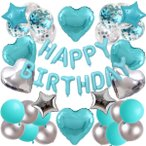 ティファニーブルーSP 誕生日飾り付け バースデーバルーンセット 風船装飾
