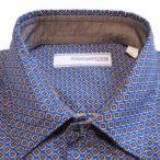 カジュアルシャツ メンズ Poggianti1958(ポッジャンティ1958) ブルーベース・茶色の菱形模様プリント 長袖 コットン ワイシャツ