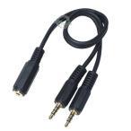 3.5mmステレオ(4極)メス-3.5mmステレオ(4極)オスx2  4極2分配ケーブル 長さ:約30cm COMON 435F-Y デジパラ C77971