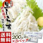 《送料無料》 瀬戸内海産 『お刺身生しらす』 200g×3パック ※冷凍 sea ☆