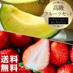 メロン いちご イチゴ 苺 マスクメロン 高級フルーツセット 静岡県産 クラウンメロン 約1kg+佐賀県産 いちごさん 約240g×2パック 送料無料 ※冷蔵