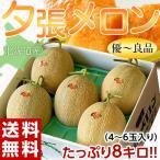 メロン 北海道産 「夕張メロン」箱売り 約8kg (4〜6玉入) 送料無料 ※冷蔵 frt ☆
