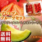 いちご イチゴ 苺 メロン マスクメロン プレミアムフルーツセット(クラウンメロン 1玉 約1kg + あまおう 約270g×2パック) ※冷蔵 送料無料