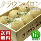 メロン めろん 静岡県産「クラウンメロン」産地箱 小玉6玉 等級:白以上 約6kg 常温 送料無料