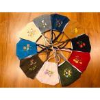 韓国デザイン コーデュロイ刺繍入りの可愛いマスク 全10色 12枚までネコポスで発送可能