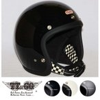 スーパーマグナム ダブルストラップ仕様 ブラックチェッカー スモールジェットヘルメット SG/DOT規格品