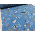 Yahoo!布と手芸 つばめやリップル 和柄 丸文様 ブルー  安い おしゃれ 布地 かわいい 生地  ゆかた 浴衣 じんべい 甚平