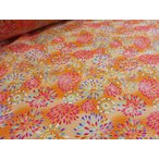 Yahoo!布と手芸 つばめやリップル 花火3 オレンジ   安い おしゃれ 布地 かわいい 生地  ゆかた 浴衣 じんべい 甚平
