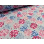 リップル アジサイ紫陽花 ライトブルー  生地 布地 かわいい  ゆかた 浴衣 じんべい 甚平