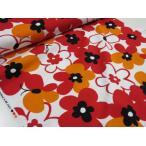 マリメッコ風大きな花柄とチョウ レッド赤 オックス生地 |綿|コットン|布|